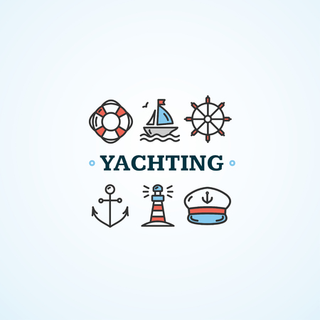 yachting: Nautical Sea Yachting Concept with Inscription. Vector illustration