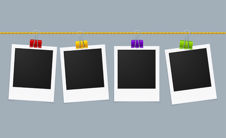 Photo Frame Line on Clips. Vector illustration