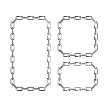 heavy metal: Silver Chain Frames. Different Sizes. Vector illustration Illustration