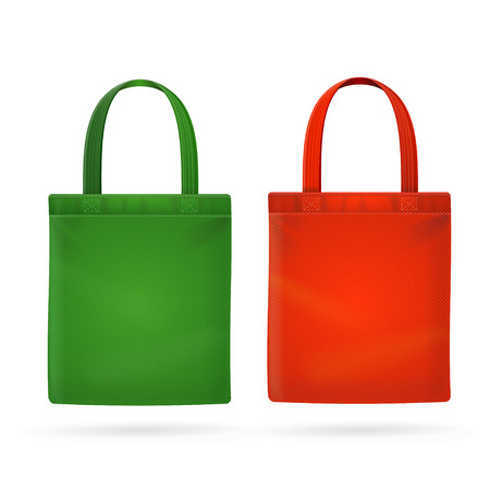 Color Fabric Cloth Bag Tote. Vector illustration  イラスト・ベクター素材