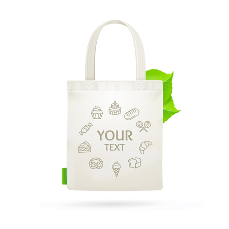 fabric bag: Eco Fabric Cloth Bag Tote With Space For Your Text. Vector illustration