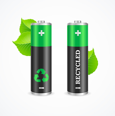 Recycled Battery Eco Concept. Renewable Energy. Vector illustration
