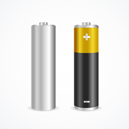 battery charging: Two Battery Set. Color and Template. Vector illustration