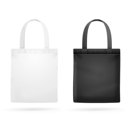 White and Black Fabric Cloth Bag Tote. Vector illustration Çizim