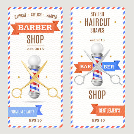 sign pole: Barber Shop Banners Flyers Card. Vertical. Vector illustration