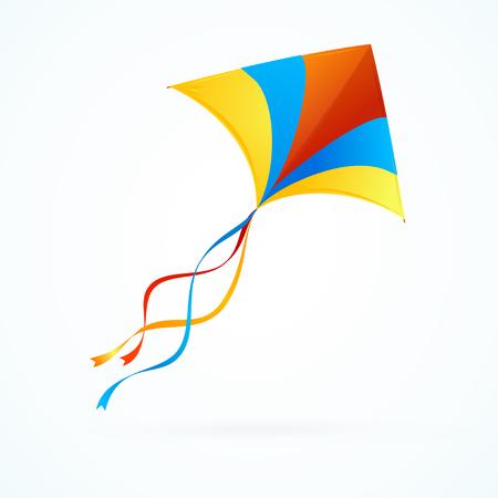 Kite colorato che vola su priorità bassa bianca. Illustrazione vettoriale