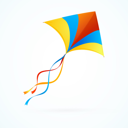Colorful Kite Flying on White Background. Vector illustration