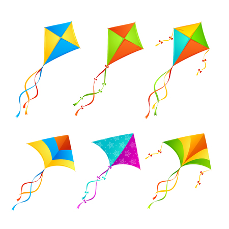 Colorful Kite Set on White Background. Vector illustration  イラスト・ベクター素材