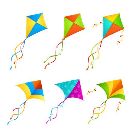 Kleurrijke Vlieger die op Witte Achtergrond wordt geplaatst. Vector illustratie