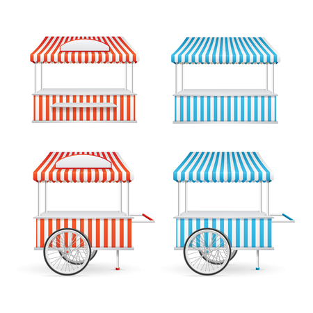 Market Stall Set. Cart and Kiosk. Vector illustration