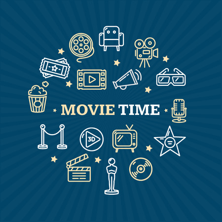 entertainment concept: Cinema Concept. Movie Watching Entertainment. Vector illustration Illustration