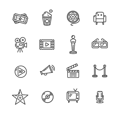director's chair: Cinema Outline Icon Set on a White Background. Vector illustration Illustration
