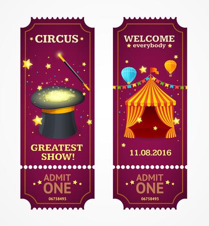 payasos caricatura: Las entradas de circo Definir. Show de magia. ilustración vectorial Vectores