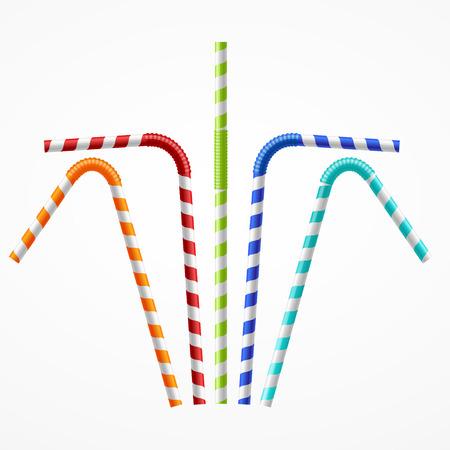 Gestreepte Kleurrijke rietjes Set. vector illustratie Stock Illustratie