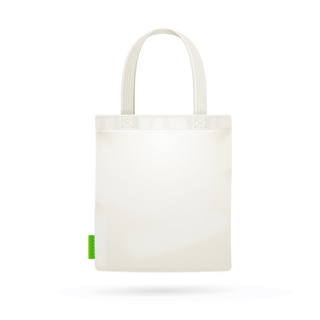 White Fabric Cloth Bag Tote. Vector illustration