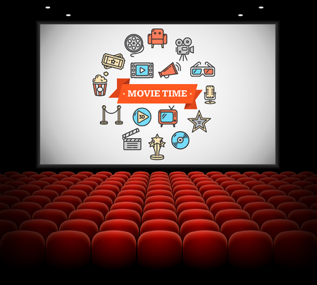 Cinema Concept. Movie time on Screen. Vector illustration Vectores
