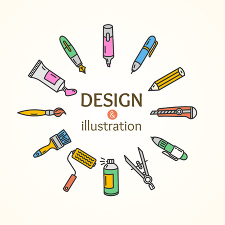 design tools: Design and Illustration Concept. Tools Set. Vector illustration Illustration
