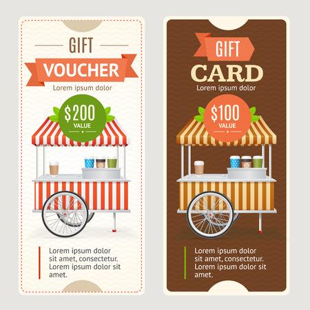 food shop: Gift Voucher Set. Coffee Take Out. Vector illustration Illustration