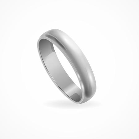 Shining Silver Ring. Symbolic Jewelry. Vector illustration Vettoriali