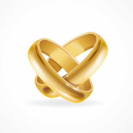 Shiny Wedding Gold Rings. Symbol of Love and Wedding. Vector illustration Vettoriali