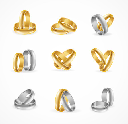 Rings Set Made of Silver and Gold. Vector illustration