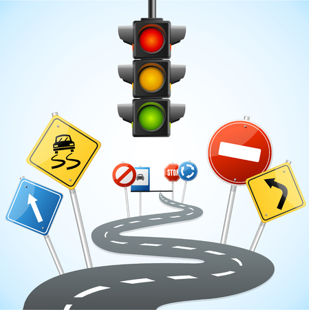 car driving: Concept of Road with Traffic Lights. Vector illustration