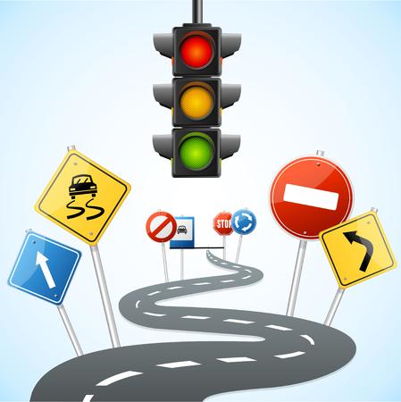 Koncepcja drodze z sygnalizacją świetlną. ilustracji wektorowych Ilustracje wektorowe