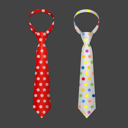 neck tie: Tie Set with Spots on a Dark Background. Vector illustration Illustration