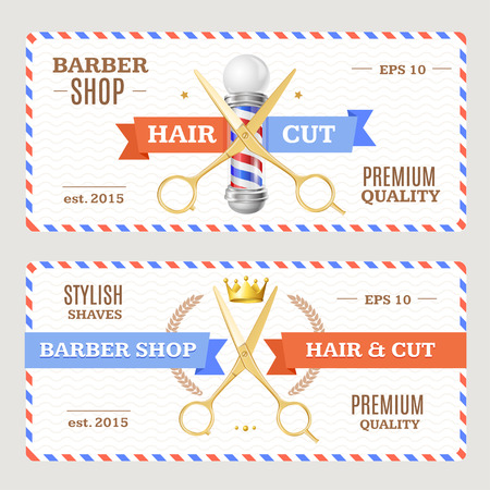 Barber Shop Banners Flyers Card Coupon. Horizontal. Vector illustration Illustration