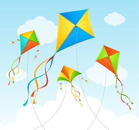 Volar la cometa y nubes en un cielo azul. Antecedentes de verano. ilustración vectorial Ilustración de vector