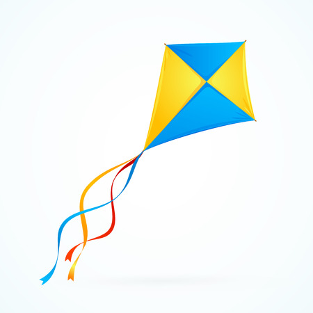 Colorful Kite on White Background. Toy Isolated. Vector illustration