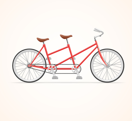 two roads: Red Vintage Tandem Bicycle on White Background. Vector illustration Illustration