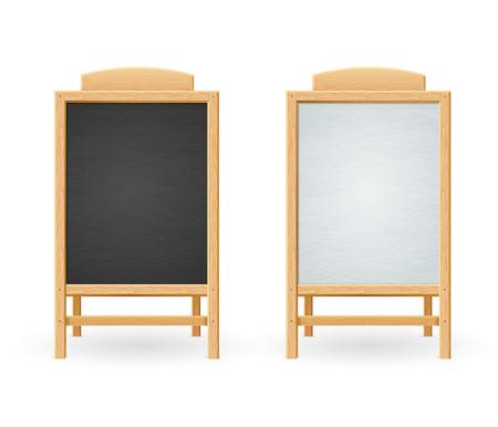 Menu Zwart en wit bord geïsoleerd. Houten frame. vector illustratie