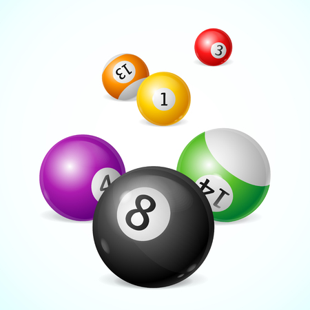 pool player: Colorful Billiard Balls with Numbers Background. Vector illustration