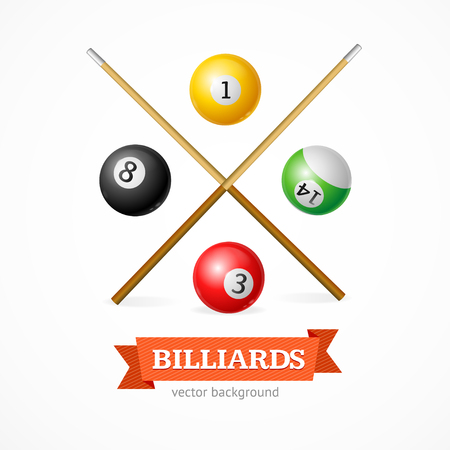 cue: Billiard Balls Concept with Cue. Poster Template. Vector illustration