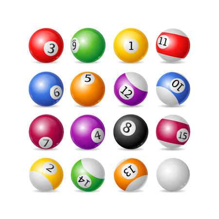 8 ball pool: Colorful Billiard Balls Set on a White Background. Vector illustration Illustration