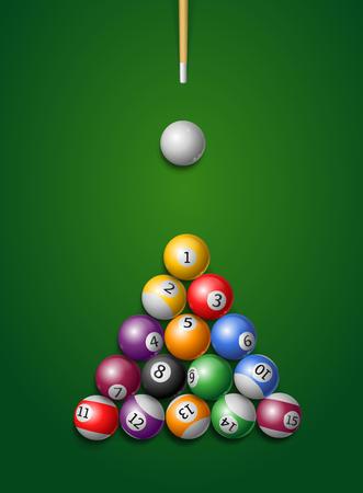 Billiard Balls, Cue in a Pool Table. Vector illustration