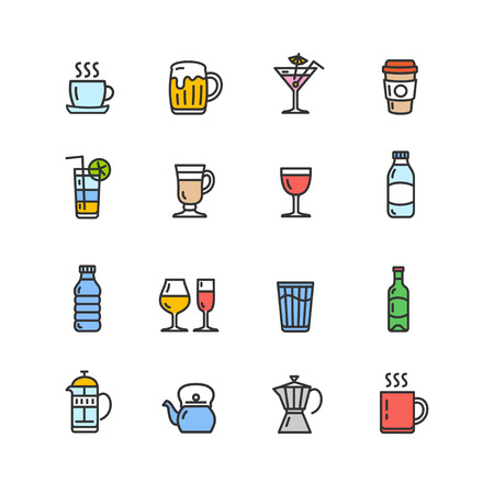 Drink Alcohol Beverage and Coffee Tea Color Icons. Vector illustration