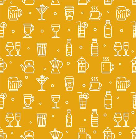repeat pattern: Drink Background for Bar Restaurant. Seamless Pattern.  Vector illustration Illustration