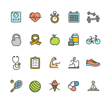Health Fitness Icon Color Set. Vector illustration Illustration