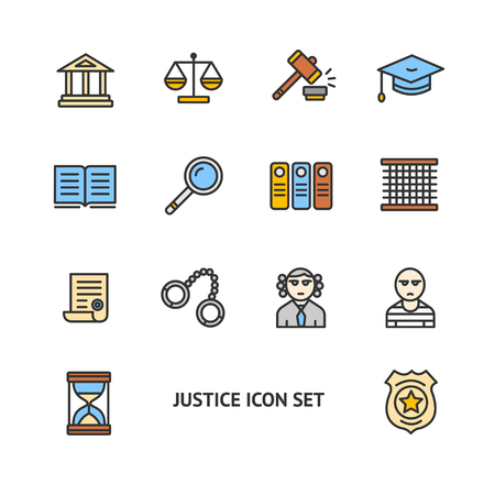 trial balance: Justice Color Icon Set on a White Background. Vector illustration