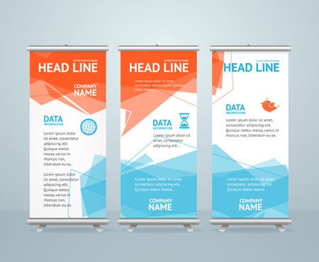 display: Roll Up Banner with Colorful Geometric  Bubble Speech. Vector illustration Illustration