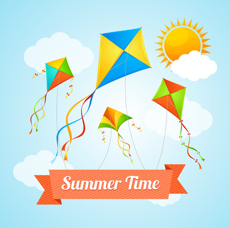 paper kite: Summer Card with a Flying Kites. Vector illustration Illustration