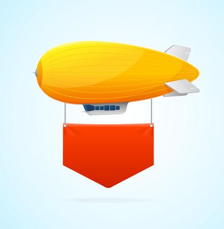 luftschiff: Gelb Airship Fliegen und rote Fahne. Vektor-Illustration