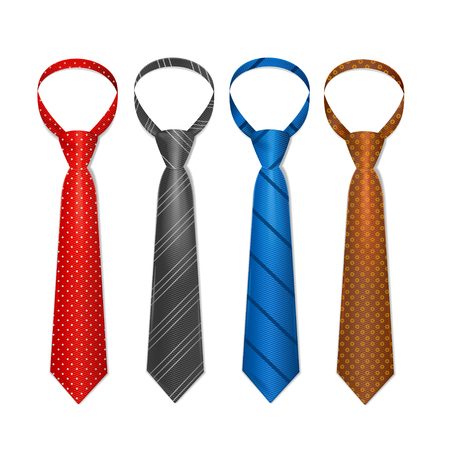 by the collar: Striped Colored Male Tie Set. Vector illustration