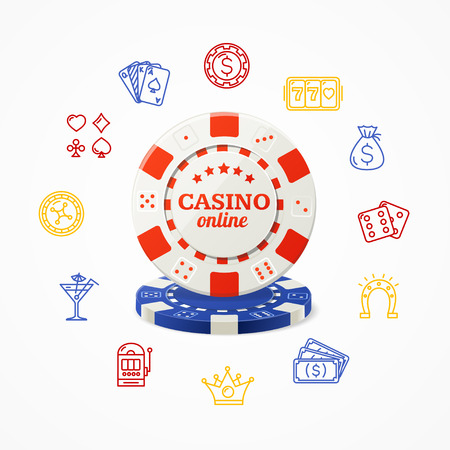 roulette online: Casino Online Concept with Red and Blue Chip. Vector illustration Illustration
