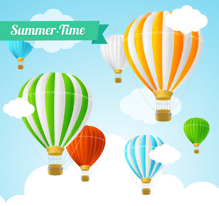 Summer Card with Colorful Hot Air Balloons. Vector illustration