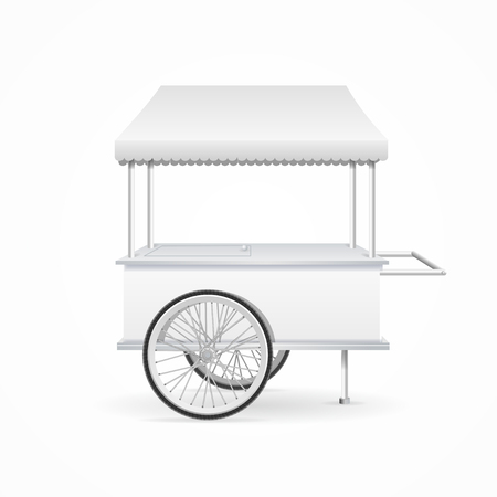 Market Cart Template White Blank. Vector illustration