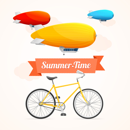 dirigible: Summer Card with Dirigible and Bike on a White Background. Vector illustration
