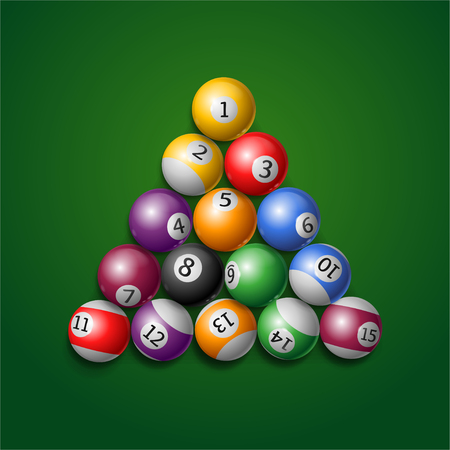 starting position: Billiard Balls. Used Starting Position. Vector illustration